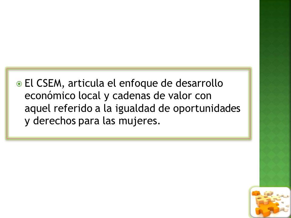 El CSEM, articula el enfoque de desarrollo económico local y cadenas de valor con aquel referido a la igualdad de oportunidades y derechos para las mujeres.