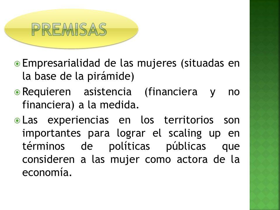 Empresarialidad de las mujeres (situadas en la base de la pirámide) Requieren asistencia (financiera y no financiera) a la medida.