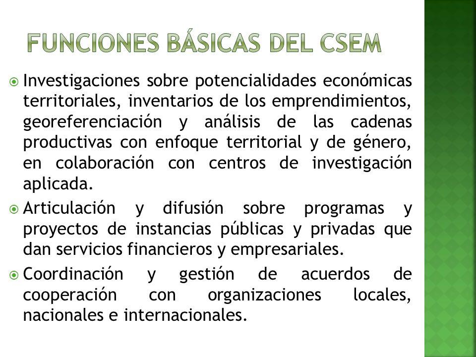 Investigaciones sobre potencialidades económicas territoriales, inventarios de los emprendimientos, georeferenciación y análisis de las cadenas productivas con enfoque territorial y de género, en colaboración con centros de investigación aplicada.