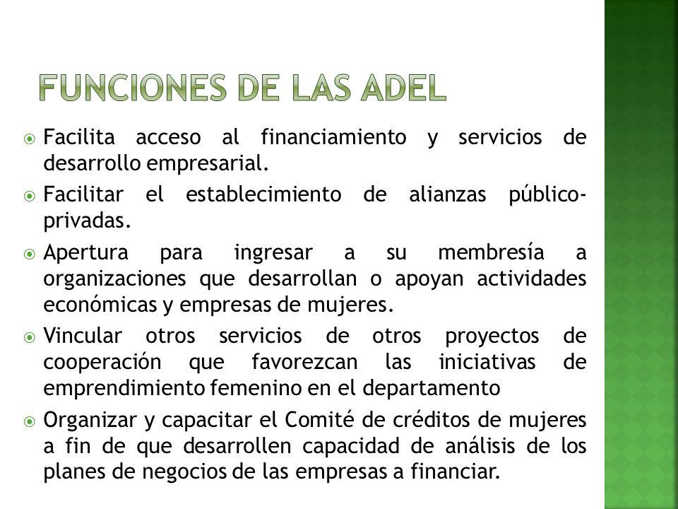 Facilita acceso al financiamiento y servicios de desarrollo empresarial.