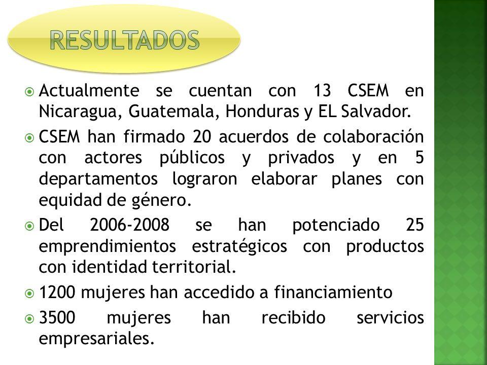 Actualmente se cuentan con 13 CSEM en Nicaragua, Guatemala, Honduras y EL Salvador.