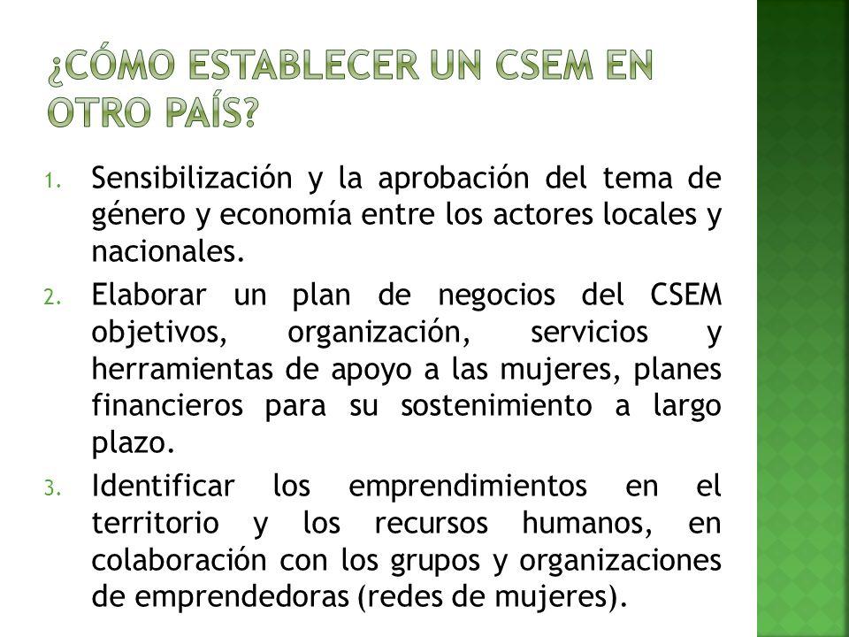 1. Sensibilización y la aprobación del tema de género y economía entre los actores locales y nacionales. 2. Elaborar un plan de negocios del CSEM obje