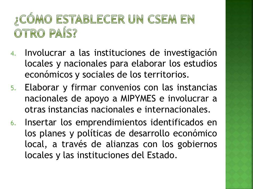 4. Involucrar a las instituciones de investigación locales y nacionales para elaborar los estudios económicos y sociales de los territorios. 5. Elabor