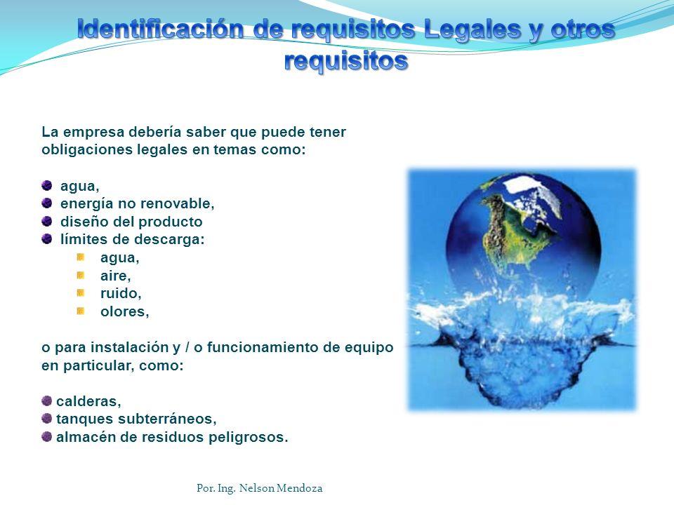 La empresa debería saber que puede tener obligaciones legales en temas como: agua, energía no renovable, diseño del producto límites de descarga: agua