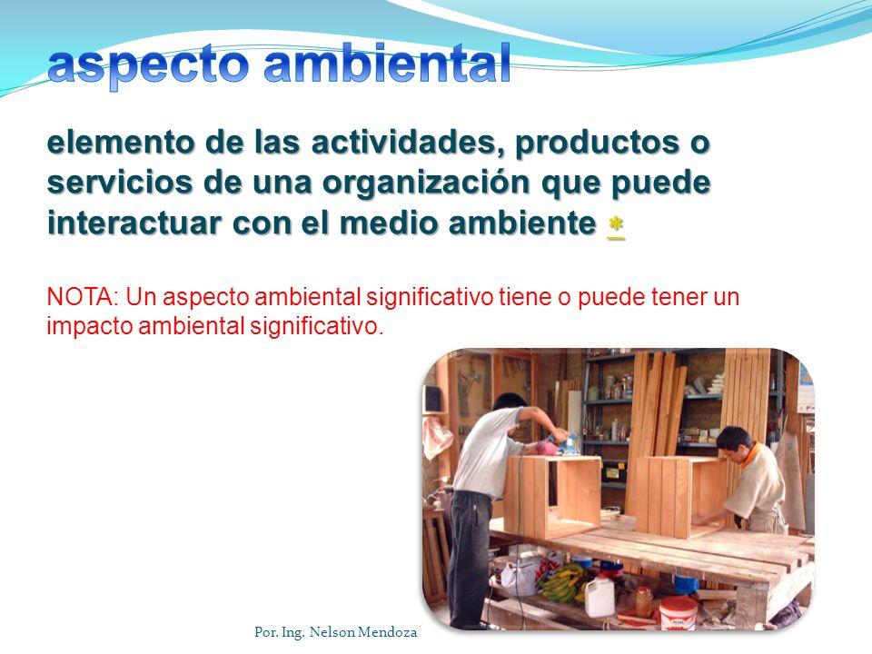 Cualquier organización que realiza actividades, ofrece productos y presta servicios, interactúa con el ambiente.