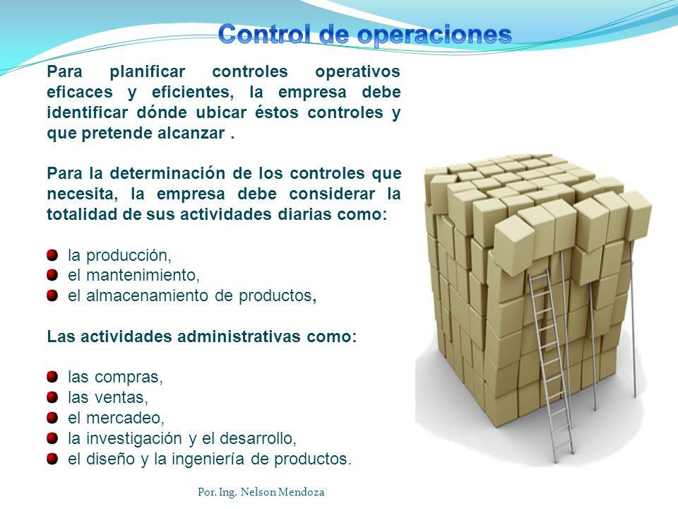 Para planificar controles operativos eficaces y eficientes, la empresa debe identificar dónde ubicar éstos controles y que pretende alcanzar. Para la