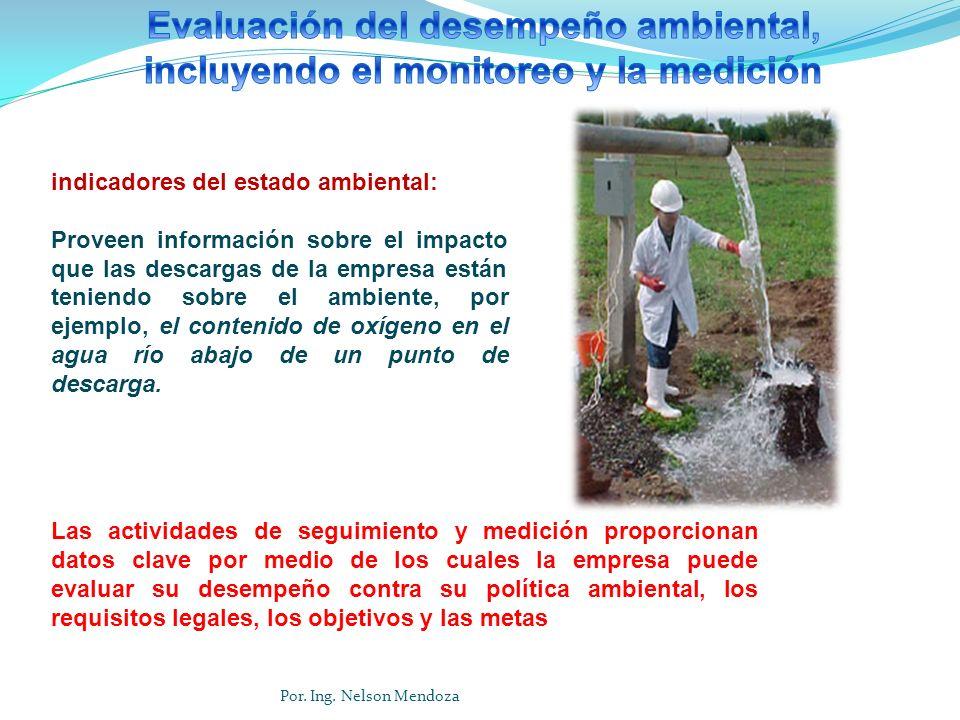 indicadores del estado ambiental: Proveen información sobre el impacto que las descargas de la empresa están teniendo sobre el ambiente, por ejemplo,