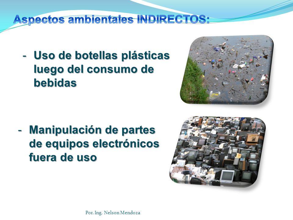 -Uso de botellas plásticas luego del consumo de bebidas -Manipulación de partes de equipos electrónicos fuera de uso Por. Ing. Nelson Mendoza