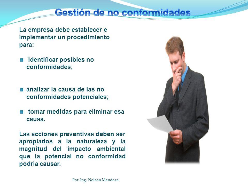 La empresa debe establecer e implementar un procedimiento para: identificar posibles no conformidades; analizar la causa de las no conformidades poten