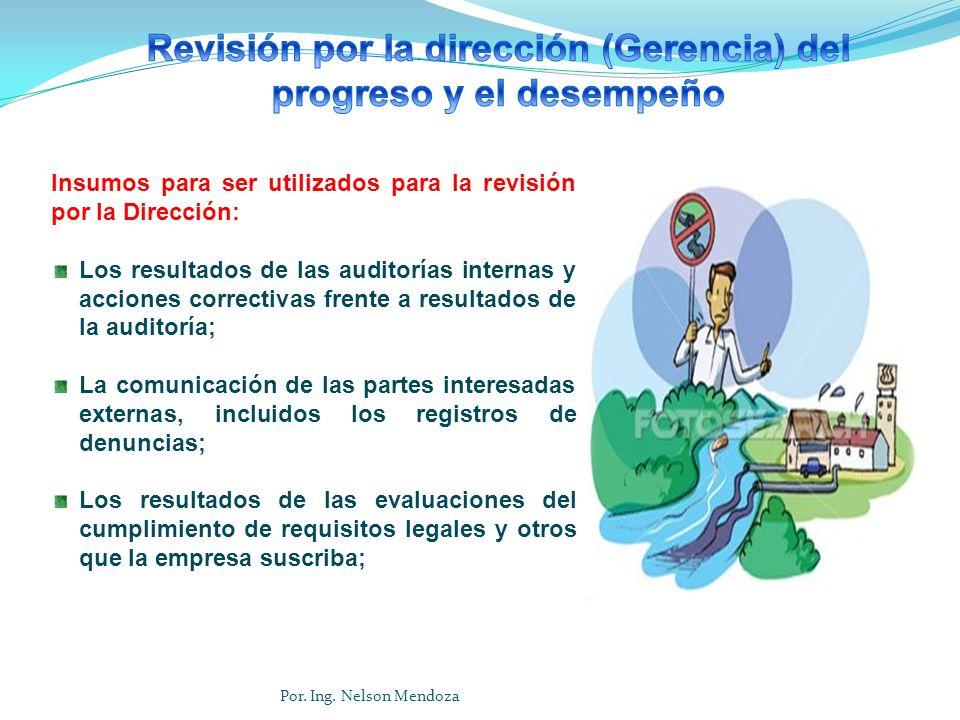 Insumos para ser utilizados para la revisión por la Dirección: Los resultados de las auditorías internas y acciones correctivas frente a resultados de