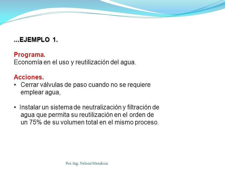 Por. Ing. Nelson Mendoza...EJEMPLO 1. Programa. Economía en el uso y reutilización del agua. Acciones. Cerrar válvulas de paso cuando no se requiere e