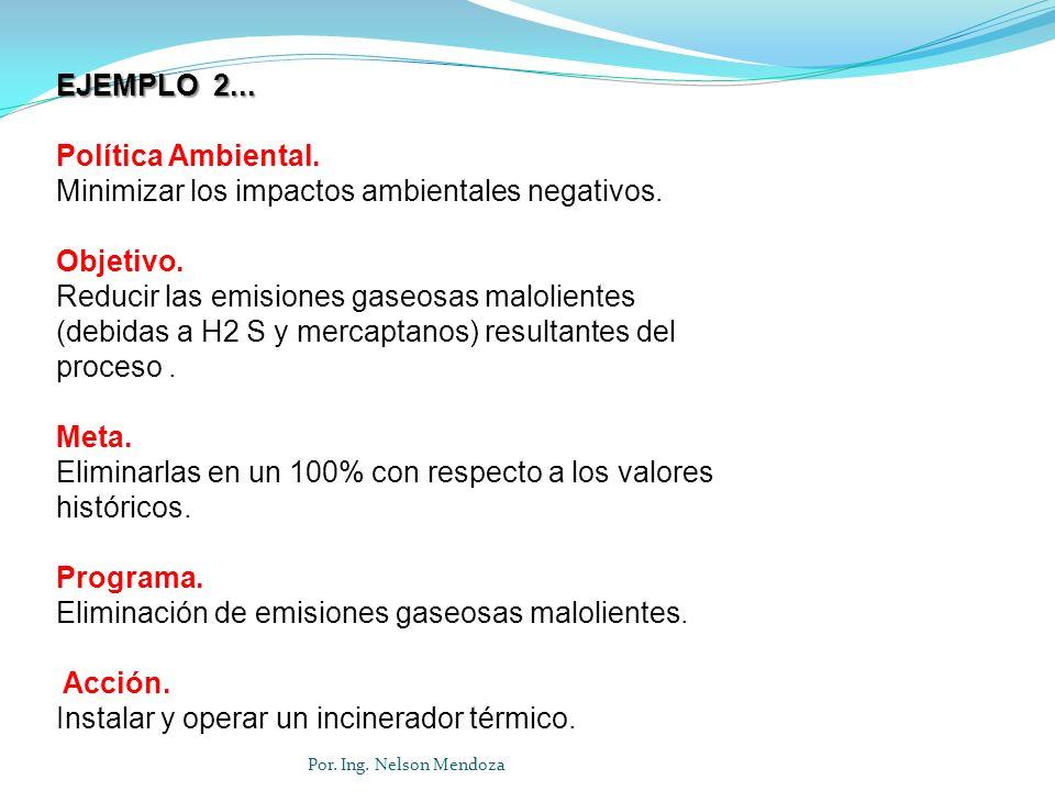 Por. Ing. Nelson Mendoza EJEMPLO 2... Política Ambiental. Minimizar los impactos ambientales negativos. Objetivo. Reducir las emisiones gaseosas malol