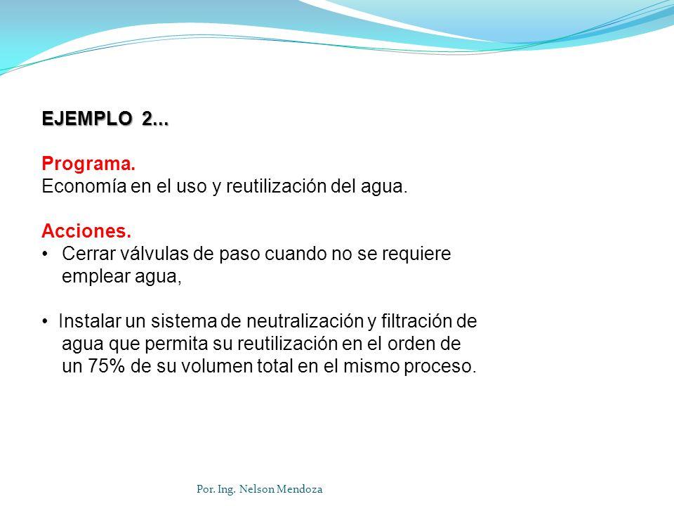 Por. Ing. Nelson Mendoza EJEMPLO 2... Programa. Economía en el uso y reutilización del agua. Acciones. Cerrar válvulas de paso cuando no se requiere e