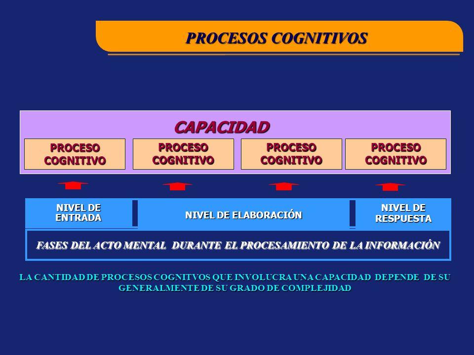CAPACIDAD PROCESO COGNITIVO NIVEL DE ENTRADA NIVEL DE ELABORACIÓN NIVEL DE RESPUESTA LA CANTIDAD DE PROCESOS COGNITVOS QUE INVOLUCRA UNA CAPACIDAD DEPENDE DE SU GENERALMENTE DE SU GRADO DE COMPLEJIDAD PROCESOS COGNITIVOS FASES DEL ACTO MENTAL DURANTE EL PROCESAMIENTO DE LA INFORMACIÓN
