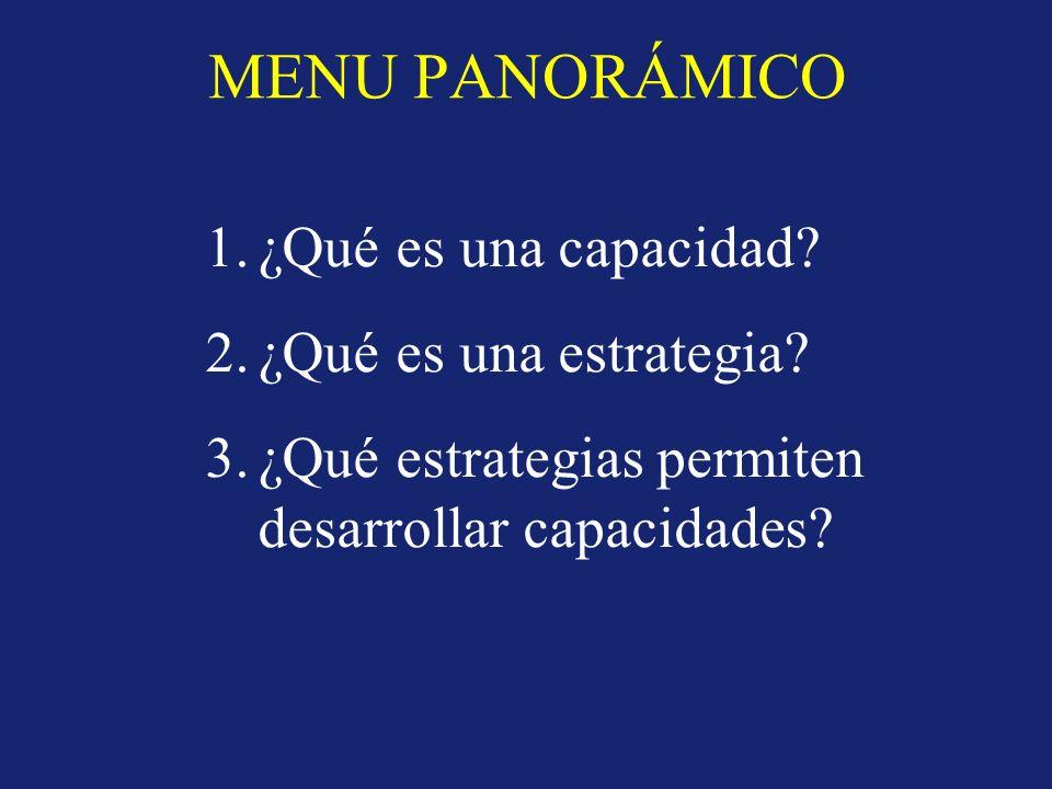 MENU PANORÁMICO 1.¿Qué es una capacidad? 2.¿Qué es una estrategia? 3.¿Qué estrategias permiten desarrollar capacidades?