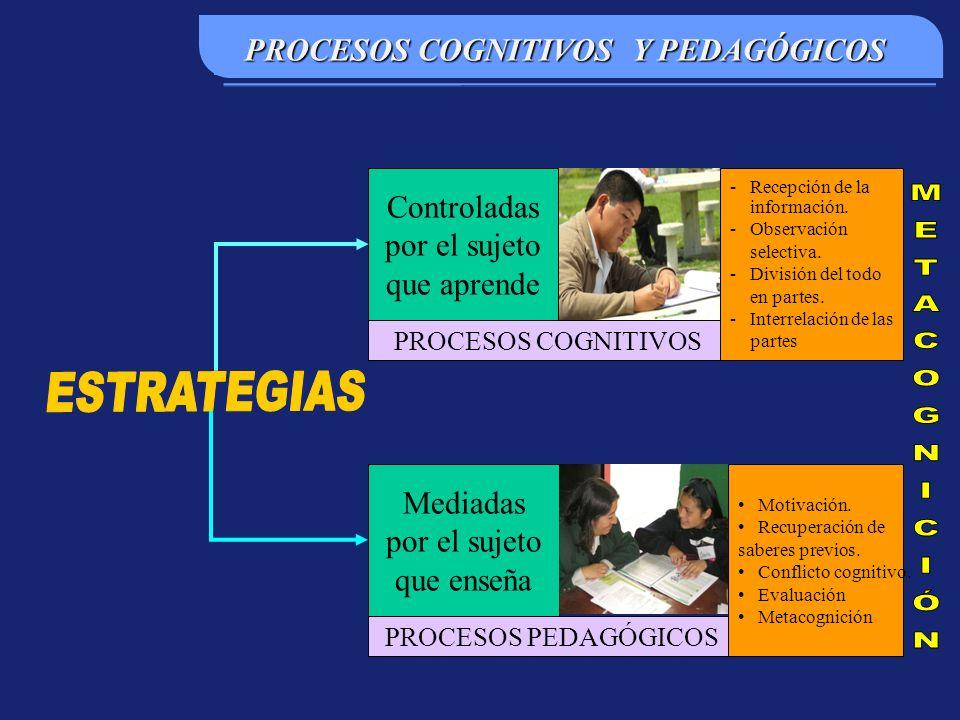 PROCESOS COGNITIVOS Y PEDAGÓGICOS Controladas por el sujeto que aprende PROCESOS COGNITIVOS Mediadas por el sujeto que enseña PROCESOS PEDAGÓGICOS -Recepción de la información.