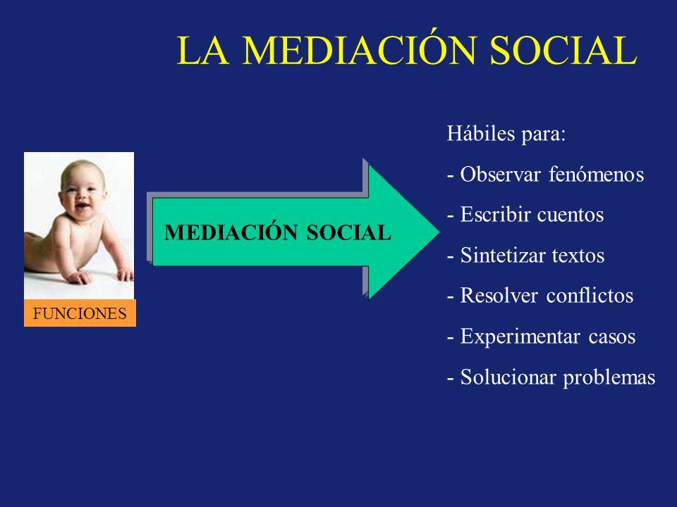 LA MEDIACIÓN SOCIAL FUNCIONES MEDIACIÓN SOCIAL Hábiles para: - Observar fenómenos - Escribir cuentos - Sintetizar textos - Resolver conflictos - Experimentar casos - Solucionar problemas