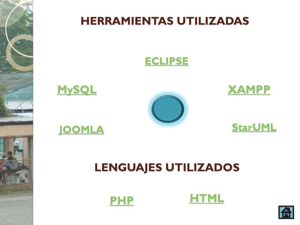 HERRAMIENTAS UTILIZADAS MySQL JOOMLA ECLIPSE XAMPP PHP StarUML HTML LENGUAJES UTILIZADOS