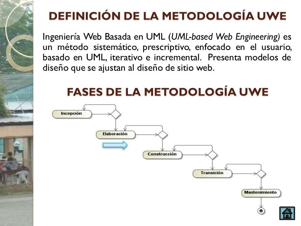 Ingeniería Web Basada en UML (UML-based Web Engineering) es un método sistemático, prescriptivo, enfocado en el usuario, basado en UML, iterativo e in