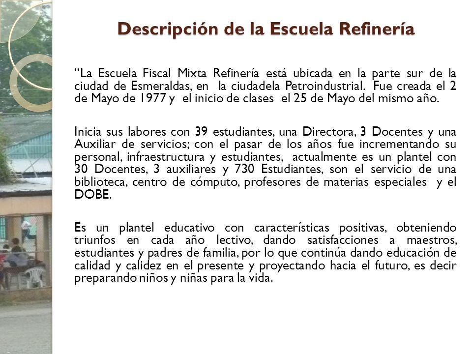 Descripción de la Escuela Refinería La Escuela Fiscal Mixta Refinería está ubicada en la parte sur de la ciudad de Esmeraldas, en la ciudadela Petroin