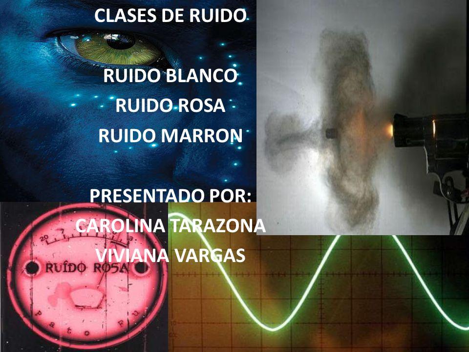 CLASES DE RUIDO RUIDO BLANCO RUIDO ROSA RUIDO MARRON PRESENTADO POR: CAROLINA TARAZONA VIVIANA VARGAS