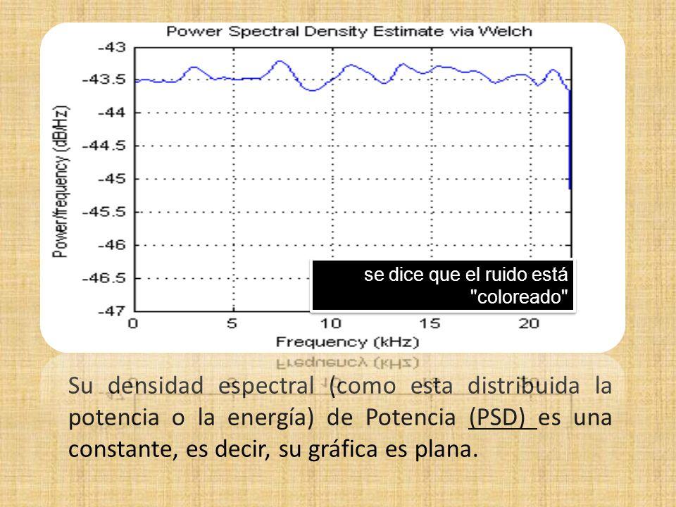 Su densidad espectral (como esta distribuida la potencia o la energía) de Potencia (PSD) es una constante, es decir, su gráfica es plana. se dice que