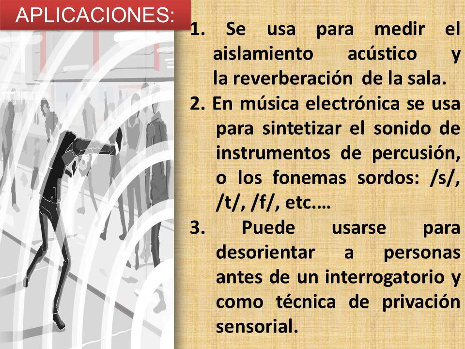 APLICACIONES: 1. Se usa para medir el aislamiento acústico y la reverberación de la sala. 2. En música electrónica se usa para sintetizar el sonido de