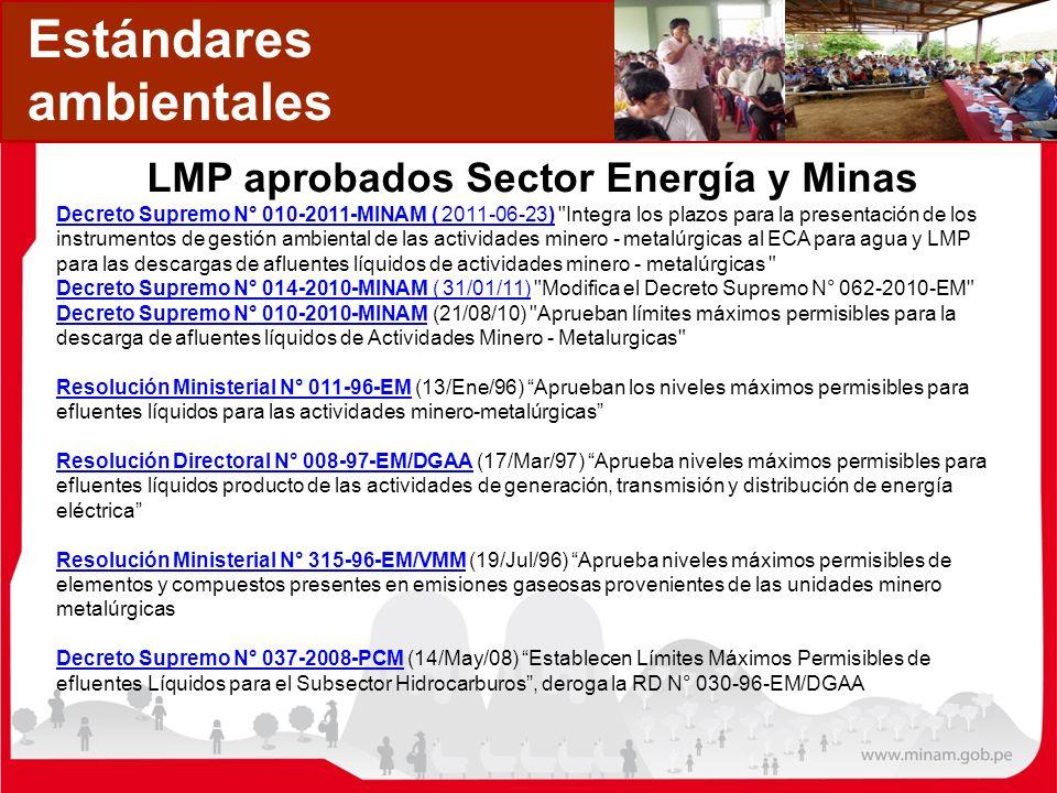 Estándares ambientales LMP aprobados Sector Energía y Minas Decreto Supremo N° 010-2011-MINAM ( 2011-06-23)Decreto Supremo N° 010-2011-MINAM ( 2011-06