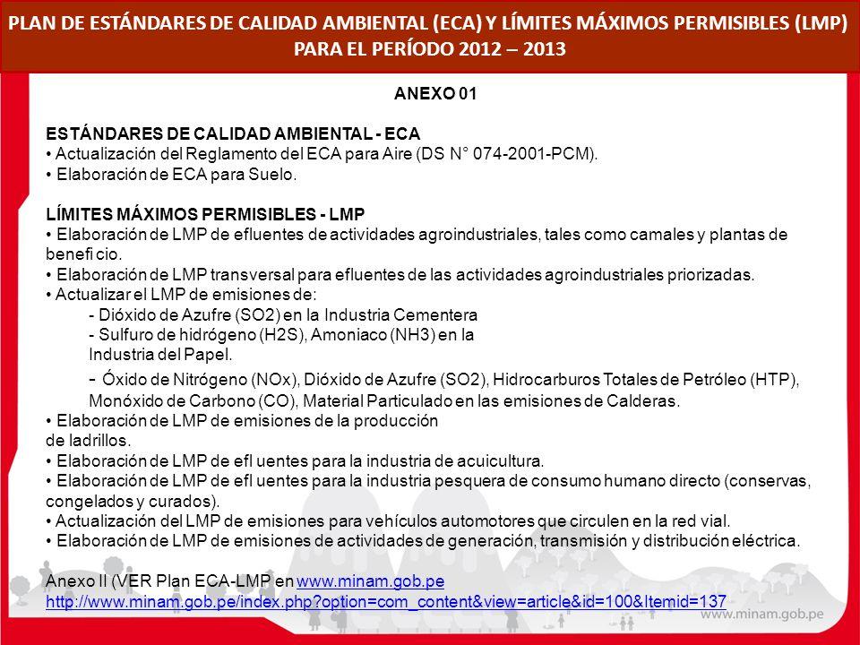 PLAN DE ESTÁNDARES DE CALIDAD AMBIENTAL (ECA) Y LÍMITES MÁXIMOS PERMISIBLES (LMP) PARA EL PERÍODO 2012 – 2013 ANEXO 01 ESTÁNDARES DE CALIDAD AMBIENTAL