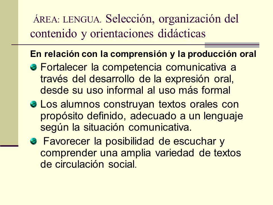 ÁREA: LENGUA. Selección, organización del contenido y orientaciones didácticas En relación con la comprensión y la producción oral Fortalecer la compe