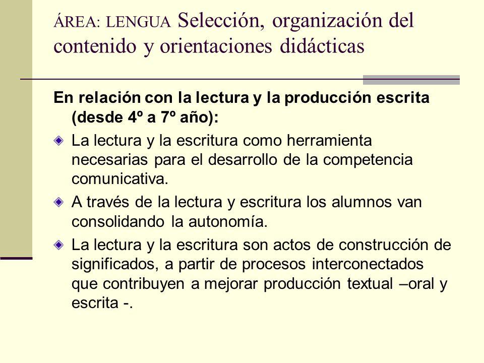 ÁREA: LENGUA Selección, organización del contenido y orientaciones didácticas En relación con la lectura y la producción escrita (desde 4º a 7º año):