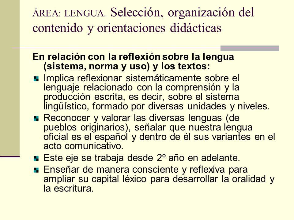 ÁREA: LENGUA. Selección, organización del contenido y orientaciones didácticas En relación con la reflexión sobre la lengua (sistema, norma y uso) y l
