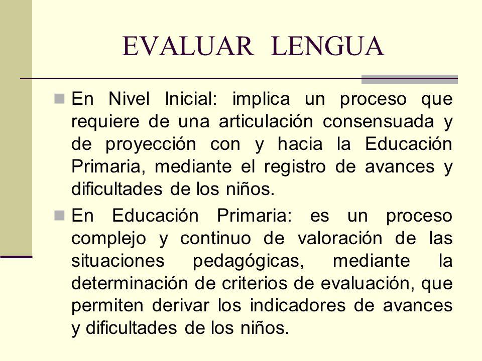 EVALUAR LENGUA En Nivel Inicial: implica un proceso que requiere de una articulación consensuada y de proyección con y hacia la Educación Primaria, me