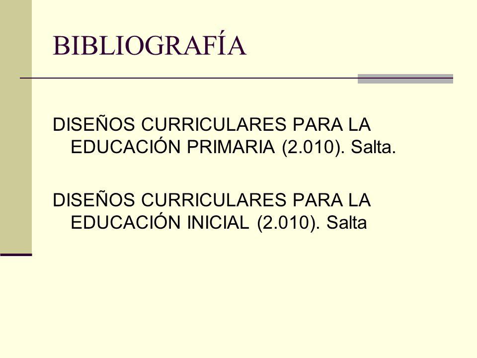 BIBLIOGRAFÍA DISEÑOS CURRICULARES PARA LA EDUCACIÓN PRIMARIA (2.010). Salta. DISEÑOS CURRICULARES PARA LA EDUCACIÓN INICIAL (2.010). Salta