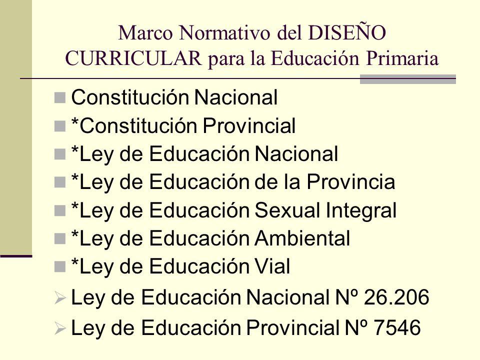Marco Normativo del DISEÑO CURRICULAR para la Educación Primaria Constitución Nacional *Constitución Provincial *Ley de Educación Nacional *Ley de Edu
