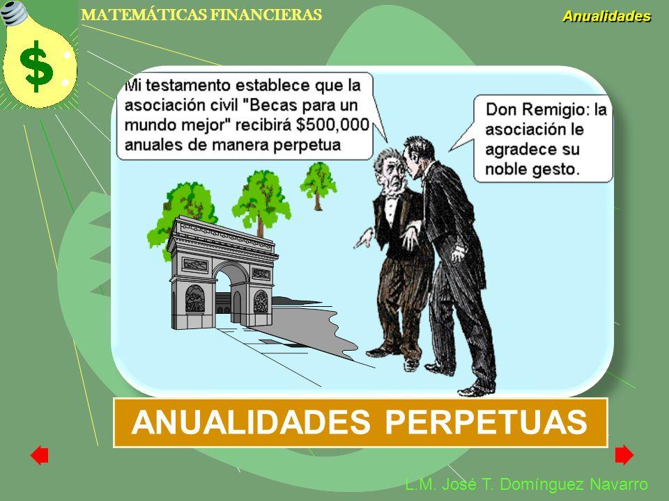 MATEMÁTICAS FINANCIERAS Anualidades L.M. José T. Domínguez Navarro ANUALIDADES PERPETUAS