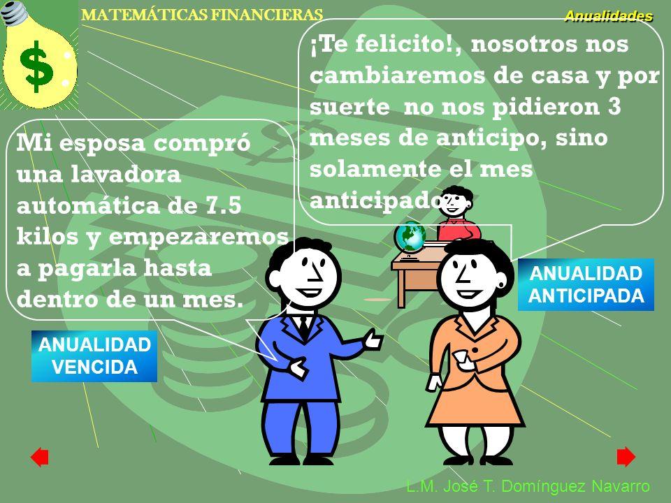 MATEMÁTICAS FINANCIERAS Anualidades L.M. José T. Domínguez Navarro Mi esposa compró una lavadora automática de 7.5 kilos y empezaremos a pagarla hasta