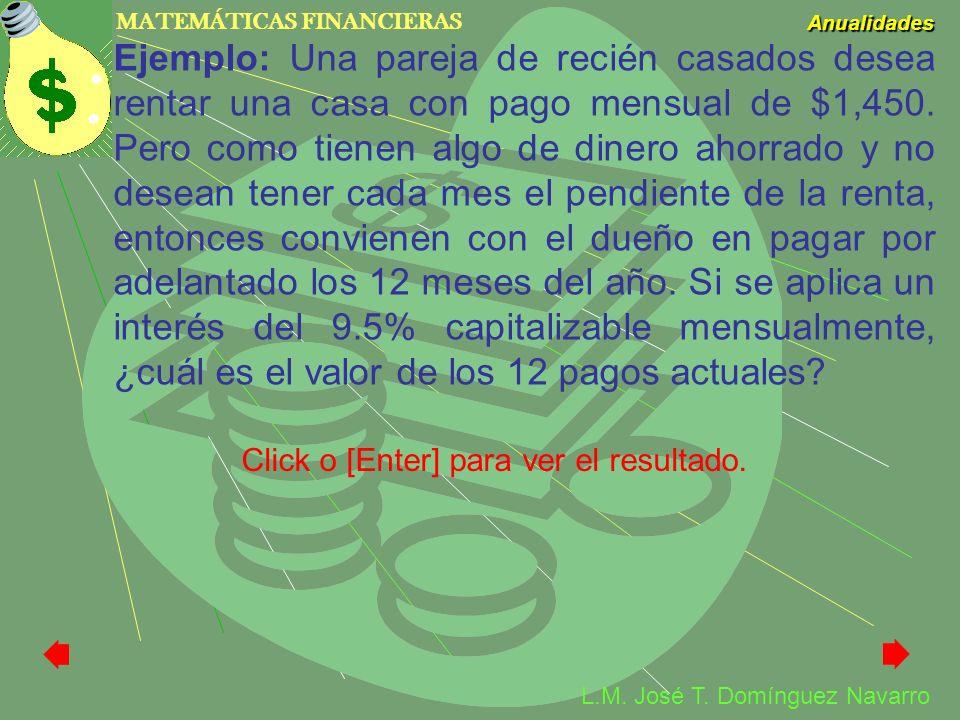 MATEMÁTICAS FINANCIERAS Anualidades L.M. José T. Domínguez Navarro Ejemplo: Una pareja de recién casados desea rentar una casa con pago mensual de $1,