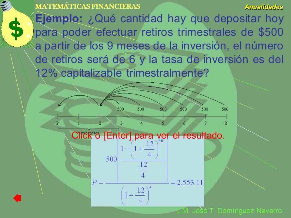 MATEMÁTICAS FINANCIERAS Anualidades L.M. José T. Domínguez Navarro Ejemplo: ¿Qué cantidad hay que depositar hoy para poder efectuar retiros trimestral