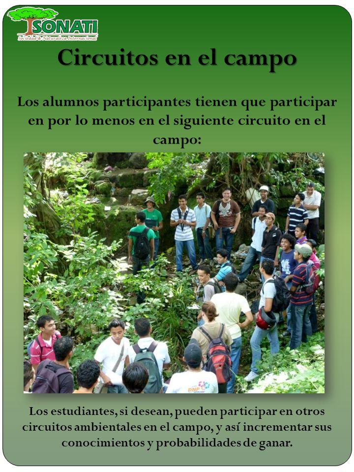 Circuitos en el campo Los alumnos participantes tienen que participar en por lo menos en el siguiente circuito en el campo: Río chiquito y parque de r