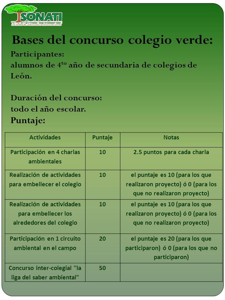 Costos: La participación de los colegios en el proyecto es GRATIS.