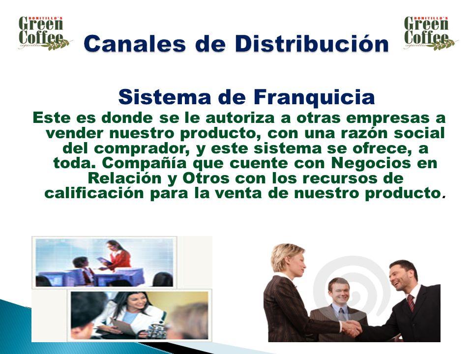 Sistema de Franquicia Este es donde se le autoriza a otras empresas a vender nuestro producto, con una razón social del comprador, y este sistema se ofrece, a toda.