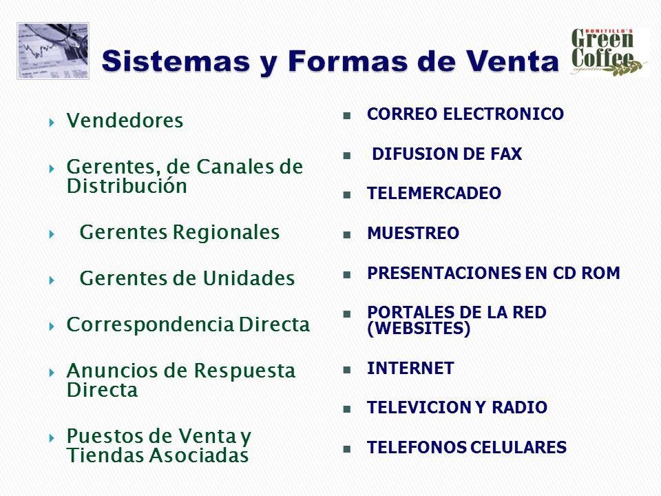Vendedores Gerentes, de Canales de Distribución Gerentes Regionales Gerentes de Unidades Correspondencia Directa Anuncios de Respuesta Directa Puestos de Venta y Tiendas Asociadas CORREO ELECTRONICO DIFUSION DE FAX TELEMERCADEO MUESTREO PRESENTACIONES EN CD ROM PORTALES DE LA RED (WEBSITES) INTERNET TELEVICION Y RADIO TELEFONOS CELULARES