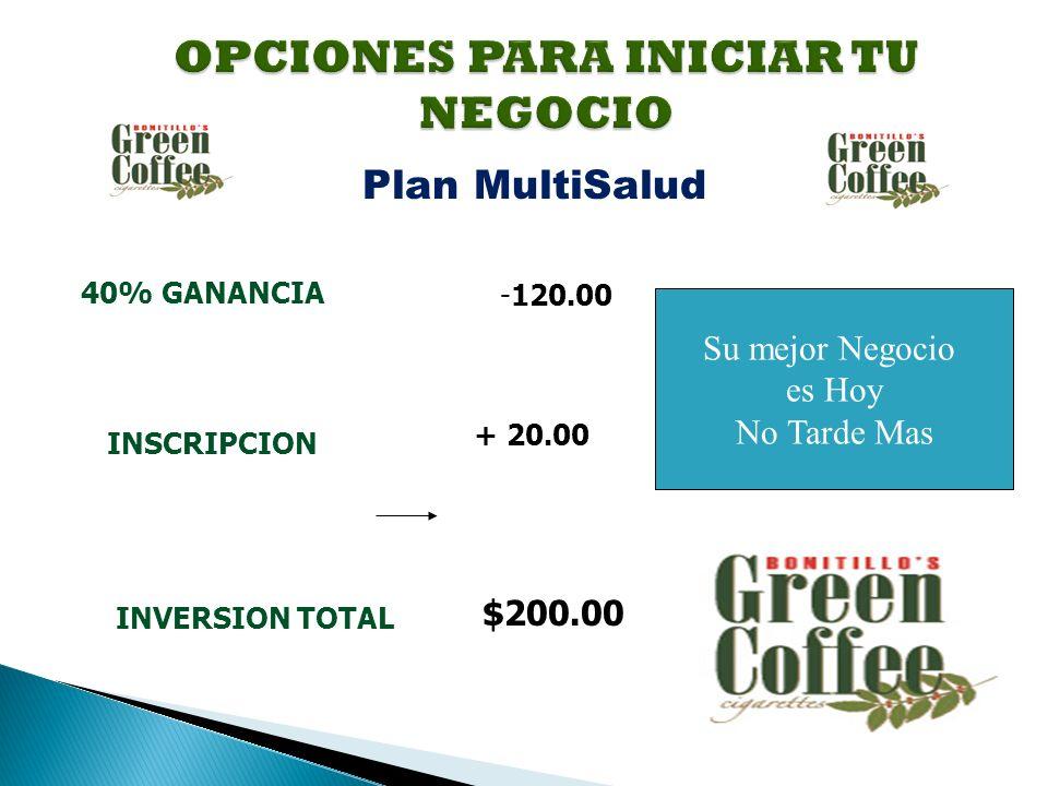 Su mejor Negocio es Hoy No Tarde Mas 40% GANANCIA -120.00 INSCRIPCION + 20.00 INVERSION TOTAL $200.00 Plan MultiSalud