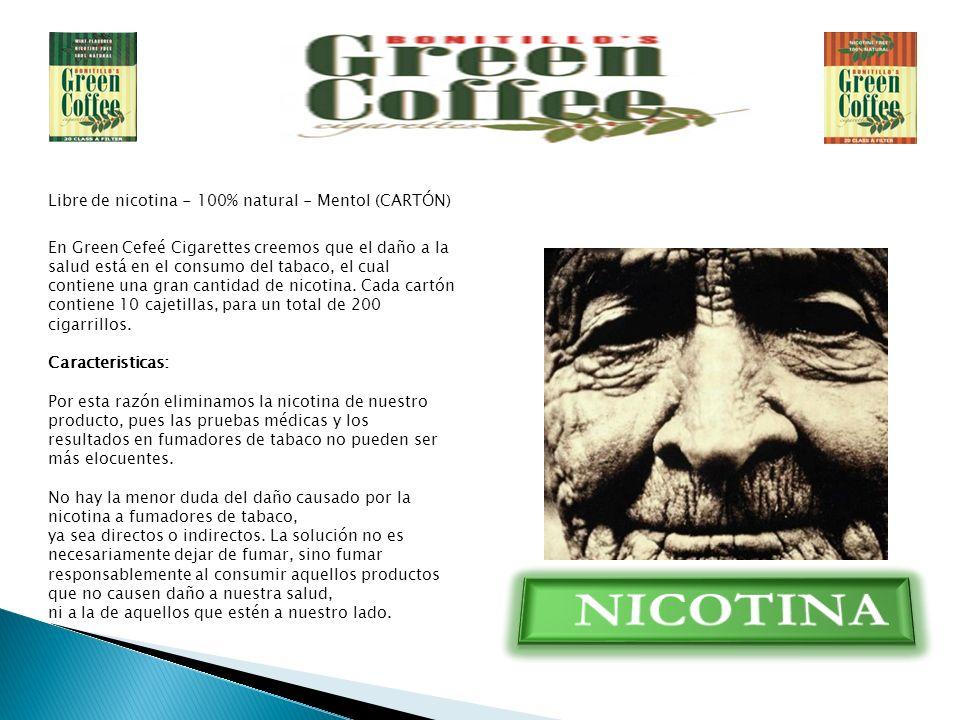 Libre de nicotina - 100% natural - Mentol (CARTÓN) En Green Cefeé Cigarettes creemos que el daño a la salud está en el consumo del tabaco, el cual contiene una gran cantidad de nicotina.
