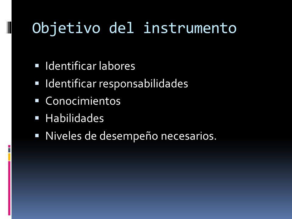Objetivo del instrumento Identificar labores Identificar responsabilidades Conocimientos Habilidades Niveles de desempeño necesarios.
