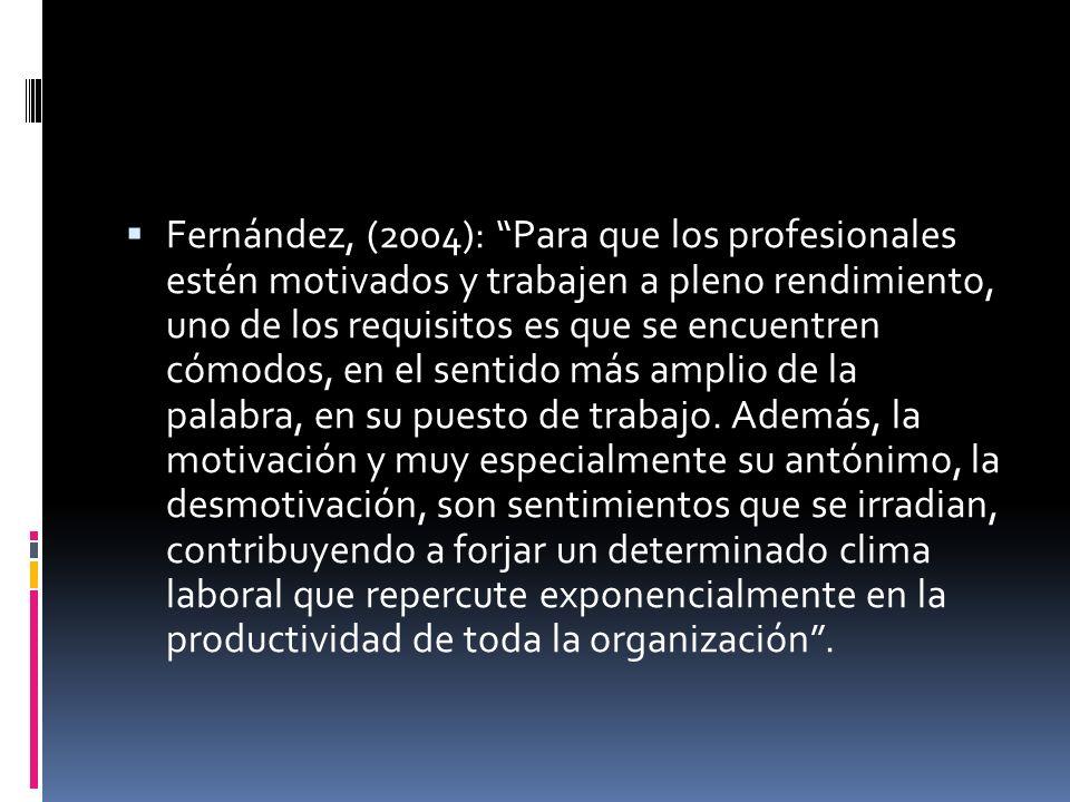 Fernández, (2004): Para que los profesionales estén motivados y trabajen a pleno rendimiento, uno de los requisitos es que se encuentren cómodos, en el sentido más amplio de la palabra, en su puesto de trabajo.