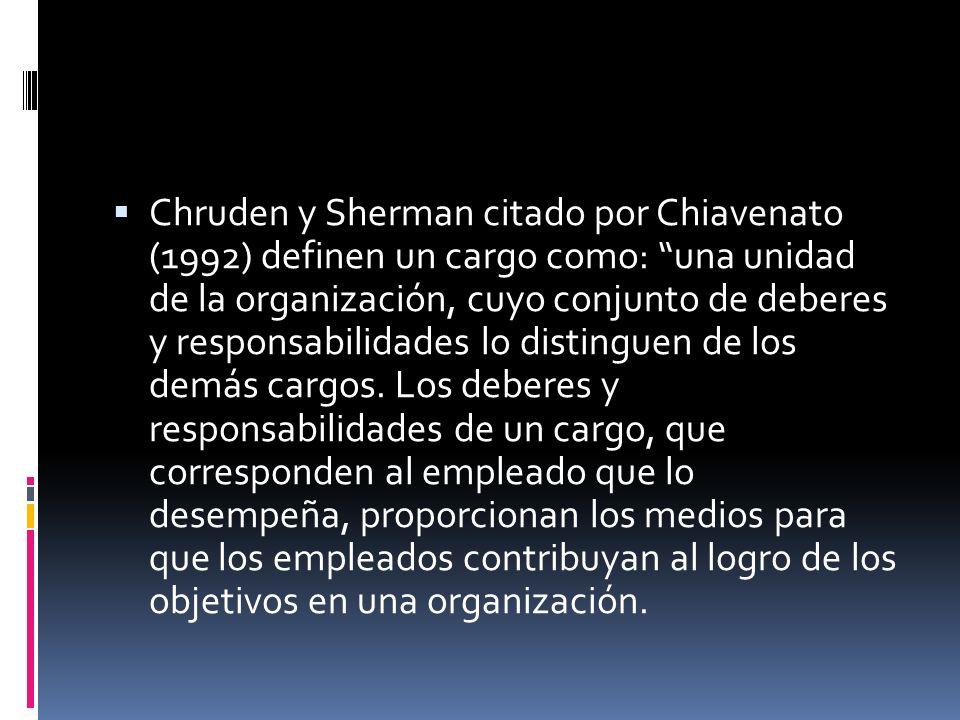Chruden y Sherman citado por Chiavenato (1992) definen un cargo como: una unidad de la organización, cuyo conjunto de deberes y responsabilidades lo distinguen de los demás cargos.