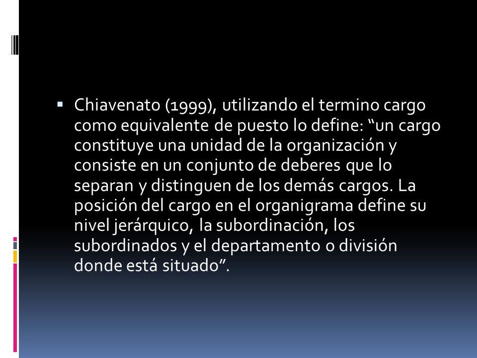 Chiavenato (1999), utilizando el termino cargo como equivalente de puesto lo define: un cargo constituye una unidad de la organización y consiste en un conjunto de deberes que lo separan y distinguen de los demás cargos.