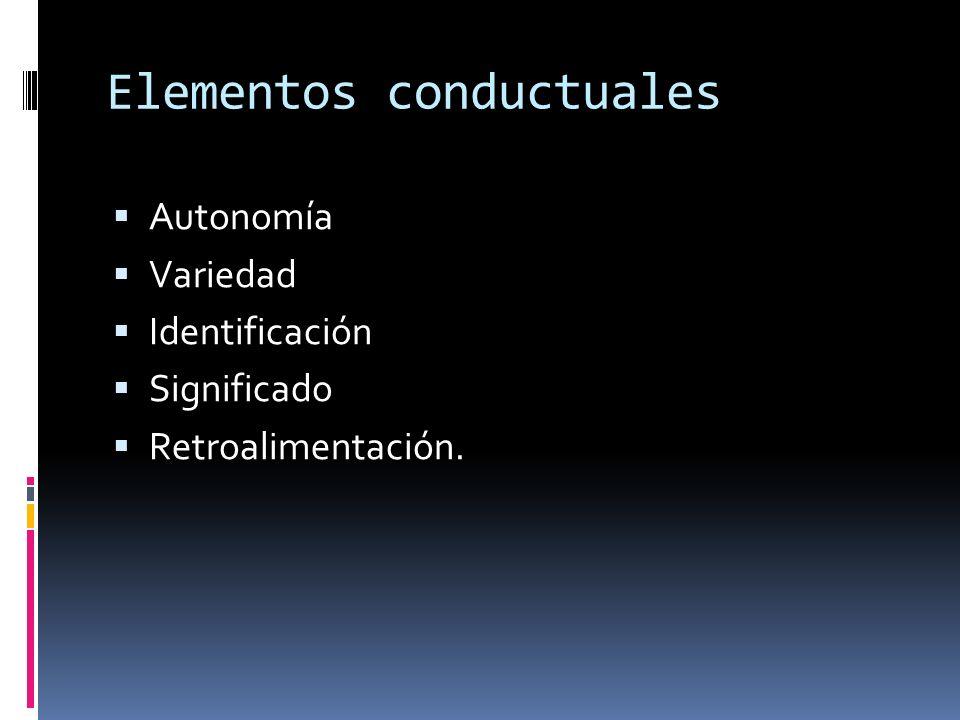 Elementos conductuales Autonomía Variedad Identificación Significado Retroalimentación.